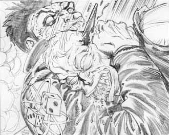 Doll and Creature pencils--panel detail